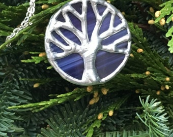 Purple and silver stained glass oak tree, tree of life, toomer's corner, Auburn pendant