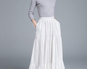 white skirt, linen skirt, full skirt, pleated skirt, bohemian skirt, flare skirt, plus size skirt, high waist skirt, pocket skirt 1674