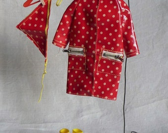 Francie #1255 Polka Dots N Raindrops, red coat and kerchief, clothes outfit, Barbie