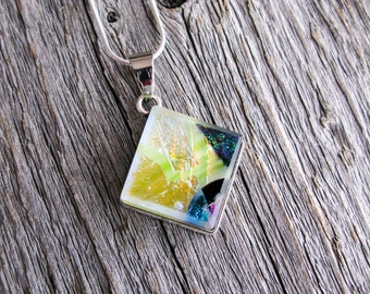 pendant necklace, dichroic glass, fused glass pendant, dichroic necklace, gift for her, space pendant galaxy, outer space jewelry