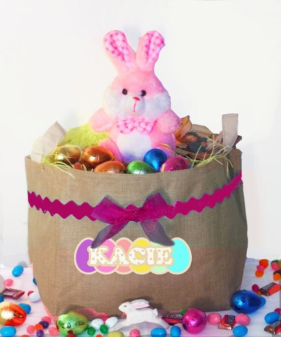 Easter Basket, Burlap Bunny Basket, Personalized Easter Bucket, egg basket, bunny basket, bunny bucket, toy storage, bedroom decor, toy box
