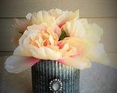 Blush peach pink peony arrangement in corrugated metal vase with diamond brooch, blush office decor, faux peony home decor, diamond glam