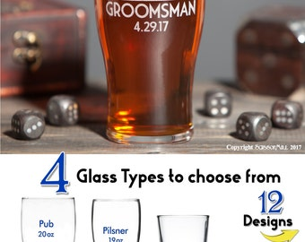 Set of 5 Groomsmen Gifts Best Man Gift Father of the Bride Gift 5 Custom Glasses Groomsmen Cups Rehearsal Dinner Favor Head Table MOH