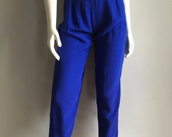 Vintage Women's 80's Cobalt Blue High Waisted Pants, Pleated, Tapered by Rampage (XS)