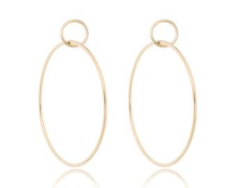 Solid 14K Gold Earrings, Double Hoop Earrings, 14K Gold Hoops, 14K Gold Post Earrings, gift for her, made to order in 3-5 days
