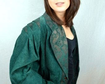 Vintage 1980s Green Suede Leather Paris Sports Club Cropped Jacket Coat