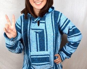 Vintage 1980s 90s Striped Pullover Baja Drug Rug Hoodie Pullover