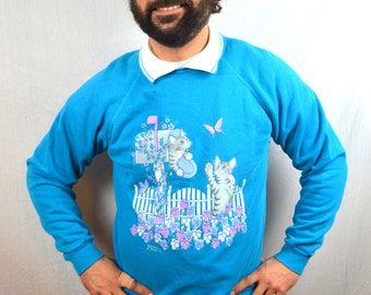 Vintage 80s 90s Kitty Cat Sweatshirt