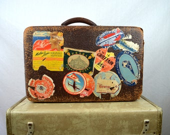 Antique Leather Suitcase Travel Bag - 40s, 1940s Airline Hotel Stickers - Distressed - Display Only