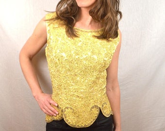 WOW Vintage 1950s 50s Intricate Beaded Fitted Top