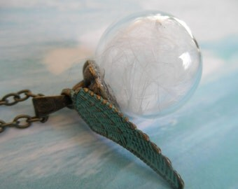 White Angel Wing Glass Reliquary Terrarium w/Verdigris Angel Wing Charm-Gifts For 30-Symbol Of Love, Faith, Courage-For The Angel Lover