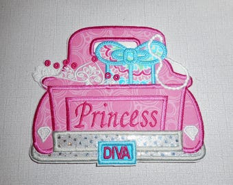 Free Shipping Ready to Ship Princess  Diva Truck Machine Embroidery iron on applique