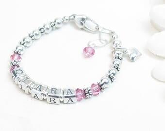 Baby Girl Name Bracelet // Silver Baby Bracelet // Baby Bracelet // Little Girl Name Bracelet // Baby Girl Bracelet // Baby Birthstone