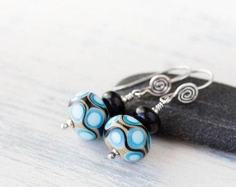Modern Retro Patterned Lampwork Earrings, Sterling silver earrings, glossy pastel blue and black, stacked glass bead dangle earrings