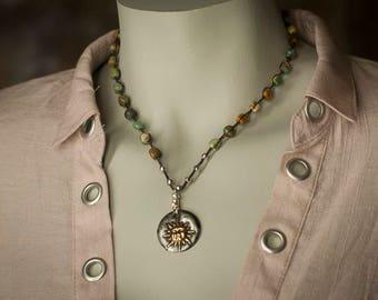 Crochet Turquoise Necklace with Handmade Sun Pendant