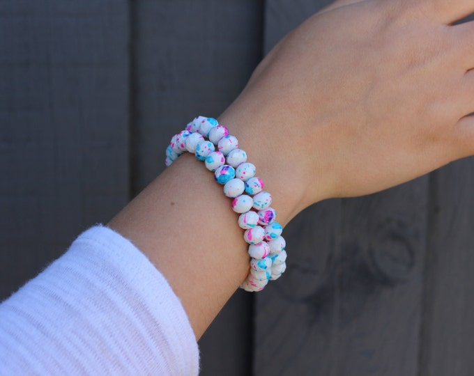 RC Signature Bracelet in Pink & Blue Dots.