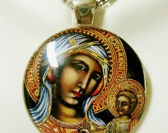 Black madonna and child glass pendant with chain - GP14-008