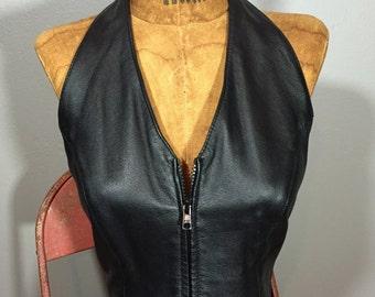 Vintage 80's Wilson's Black Leather Zip Front Cropped Halter Top Spandex Back Biker Vest Goth XS