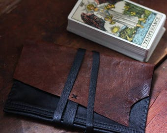 Black and brown tarot pouch in upcycled leather