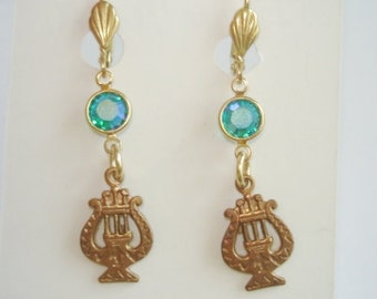 Turquoise Crystal  Stone Dangle Music Earrings Gold Tone