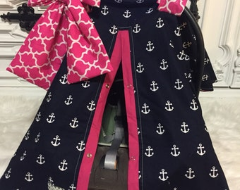 CAR SEAT COVER / carseat canopy / nursing cover / girl / carseat cover / car seat canopy / infant car seat cover / anchor / hot pink / bow