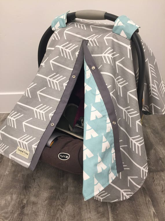 Arrow and Teepee car seat canopy , nursing cover , 2 in 1 , baby boy , unisex