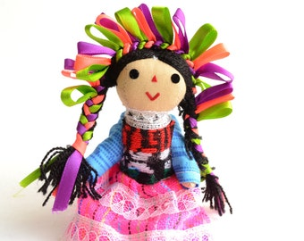 Small Handmade Cotton Doll, Rag Mexican Doll, Rag Cotton doll, Gift for girls, Cotton Doll, Gift for girl, Gift for her, Gifts Under 15