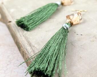 Green Tassel Earrings, Silk Tassel Earrings, Fringe Earrings, Boho Tassel Earrings, Crystal Drop Earrings, Holiday Jewelry