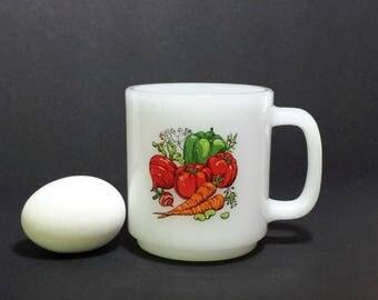 Vintage Glasbake Mug with Vegetables / 1960s Glasbake Opal Glass Mug with Harvest Design
