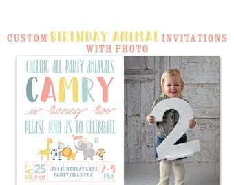 Animal Birthday Party Invitation with photo, Custom Jungle Animal Birthday Party,  5x7 Birthday Invitations, 1st Birthday Invite,