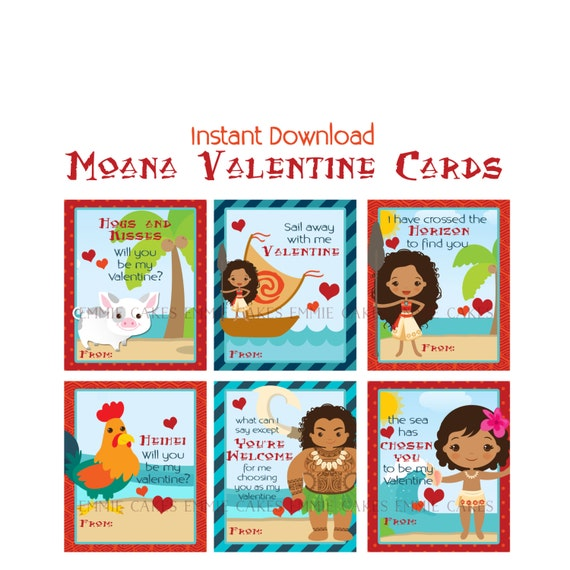 Disney Moana Printable Kids Valentines Cards
