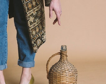 Vintage Glass Decanter with Wicker Casing