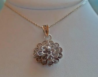 Vintage Victorian 835 Coin Silver 3D Filigree Scroll Open Flower Pendant 4.8g Necklace 18""