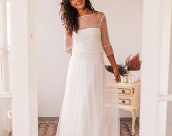 Polka dots wedding dress, bridal gown, polka dots tulle, wedding dress, plumeti wedding dress, swiss dot wedding dress, long sleeve bridal
