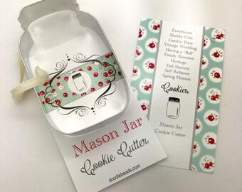 Mason Jar Cookie Cutter, Canning Jar, Farmhouse, Shabby chic, Garden Party, Vintage Wedding, Spring Flowers, Having a ball, Family Reunion
