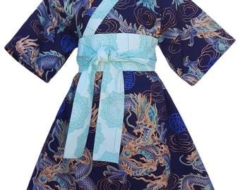 Kimono Dress BLUE DRAGON Yukata Modern Kimono Girls Baby Toddler Japanese