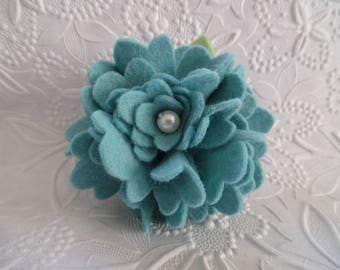 Flower Brooch Felt Pin Turquoise Blue Jewelry Wool Felted Flowers