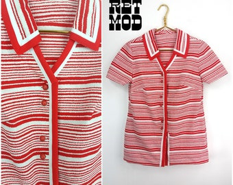 Cool Vintage 70s Red & White Tweed Style Polyester Stripe Top!