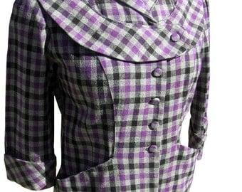 """Vintage 40s Suit Ladies 1940s Purple Black Gray Plaid 26"""" waist 34"""" bust Nipped Waist"""
