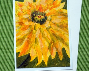 YELLOW DAHLIA - Hand Painted Acrylic Floral Greeting Card