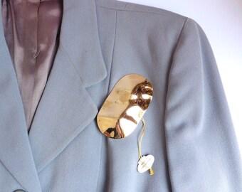1980s large 18 carat gold plated oval freeform brooch, West German deadstock/NOS