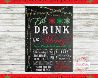 Editable Holiday Party Invitation - Christmas Party Invitation - INSTANT DOWNLOAD - Edit at Home with Adobe Reader Now!