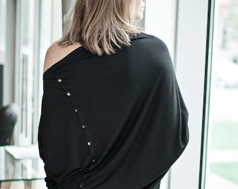 SALE - Black blouse | Casual blouse | Button back blouse | LeMuse asymmetric blouse