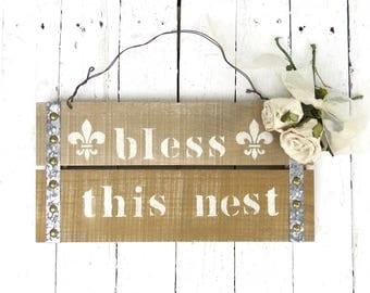 Bless This Nest, Wood Sign, Rustic Sign Decor, Shabby Cottage Decor, Wall Hanging, Farmhouse Decor, Fleur De Lis Art