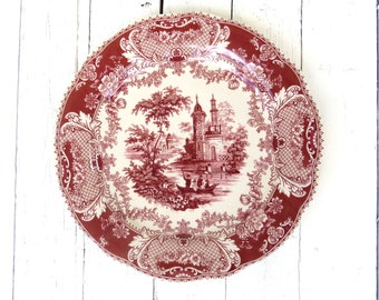 Red and White Plate, Red Transferware Plate, French Country Decor, Service Plate, Charger, Victorian Platter, Cottage Decor, Castle Scene