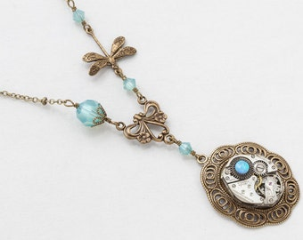 Steampunk Necklace with Silver Vintage Watch Movement and a Dragonfly Charm, Opal & Blue Swarovski Crystal Beads on a Filigree Pendant