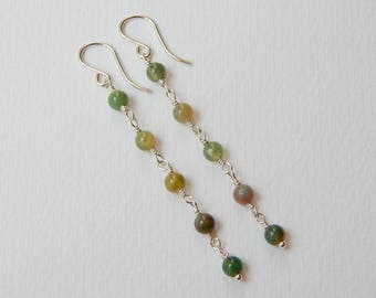 Indian Agate Earrings - Sterling Silver Long Beaded Earrings Rosary Earrings Dangle Beadwork Earrings Agate Beads Rosary Chain