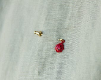 tiny lady bug (ladybird), brass and enamel nature brooch or earrings