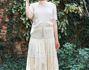 Cotton Skirt, Ivory Skirt, High Waisted Skirt, Boho Maxi Skirt, Pleated Skirt, Gypsy Skirt, Floor Length Skirt, Designer Skirt, Long Skirt