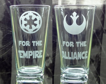 Alliance Empire Glasses - Rebel Alliance Glass - Etched Pint Glass - Star Wars Glass - Etched Barware - Etched Drink Glass - Star Wars Gift